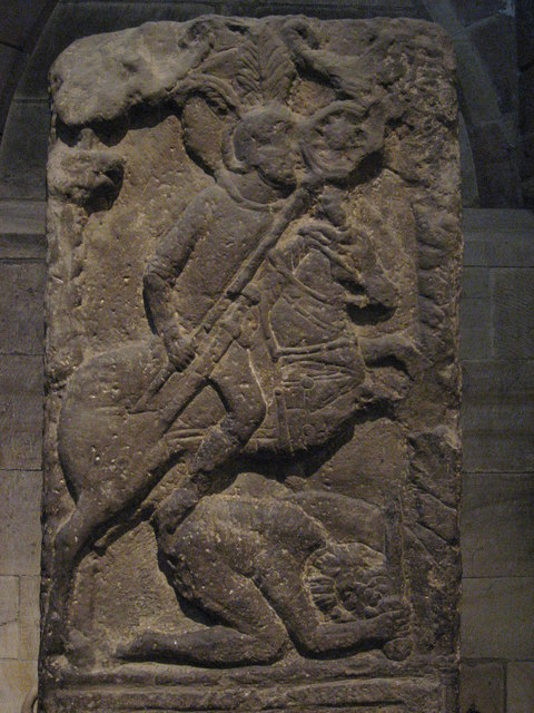 Tombstone of Flavinus, Roman Standard Bearer - detail