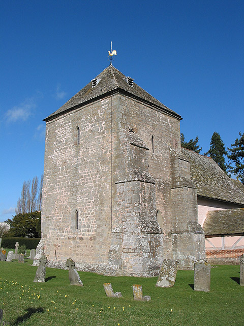 Square, squat tower of St. Mary's Church, Kempley