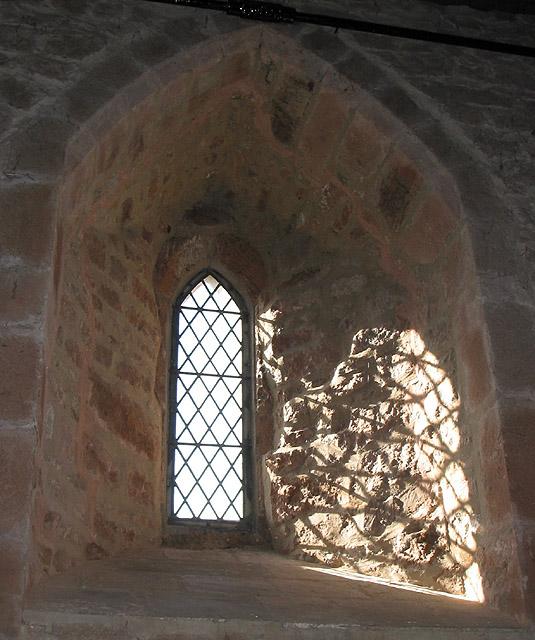 Sunlit pattern through a church window