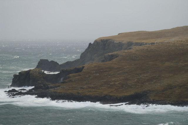 Clibberswick cliffs in a NE gale
