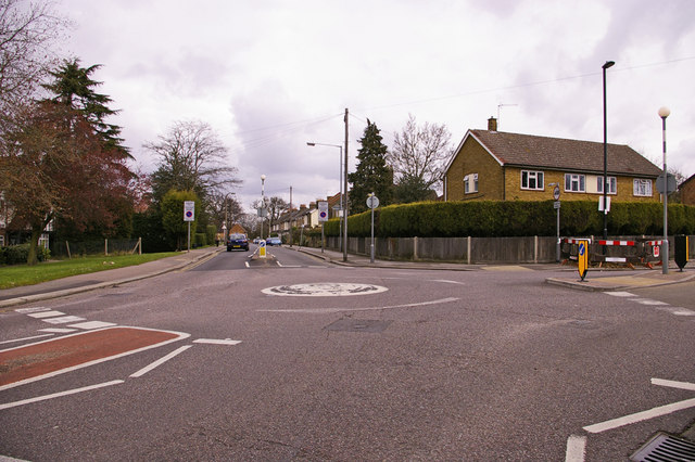 Roundabout at junction of Lavender Hill and Holtwhites Hill, Enfield