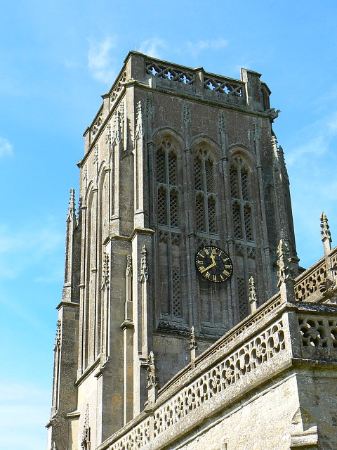St Mary's church tower and clock, Batcombe