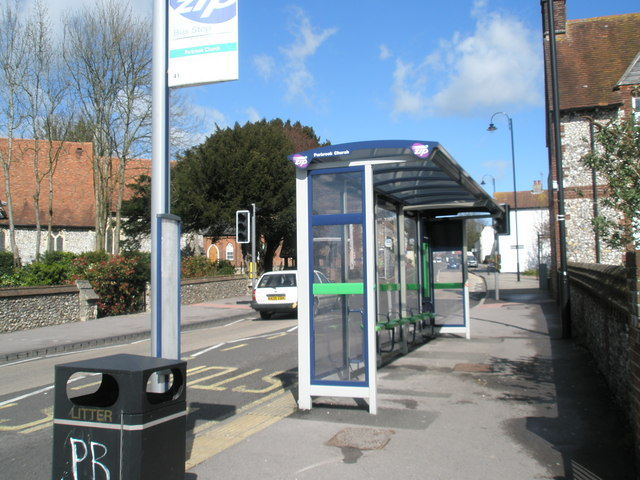 Bus shelter opposite St John's Church at Purbrook