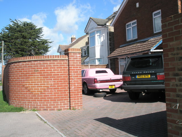 Pink cadillac in London Road driveway