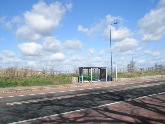 Bus stop on the old Light Railway Route