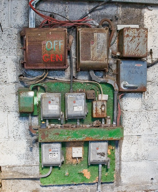 Electricity distribution board in disused boiler house on Abbotts Farm, Canada
