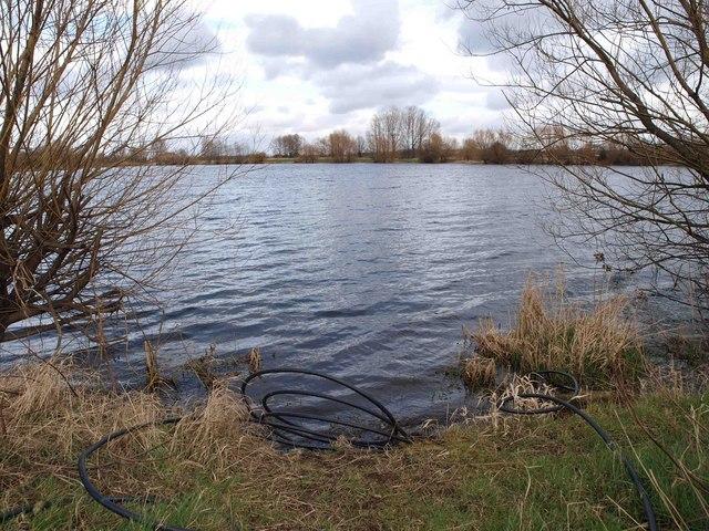 Lake near the River Calder and M1 motorway