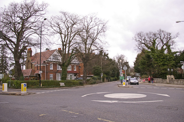 Roundabout at junction of the Ridgeway with Slades Hill and Windmill Hill, Enfield