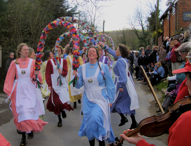 Knots of May Dancers in Alciston, East Sussex