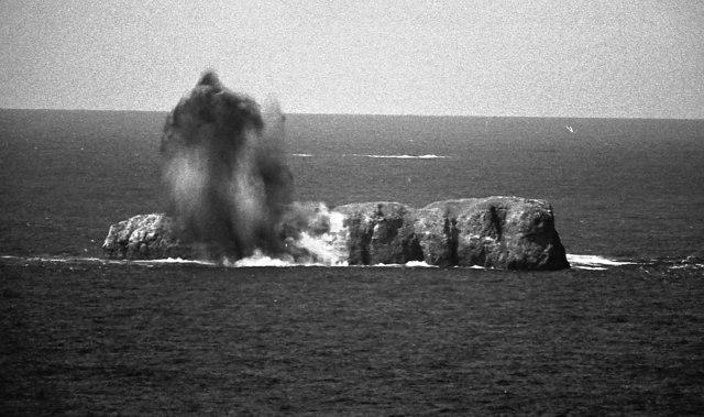A 1000 pound bomb  has a direct hit on An Garbh-eilean