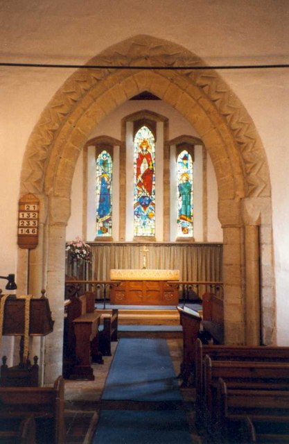 Chancel arch and east window, St. Mary's Church, Essendine