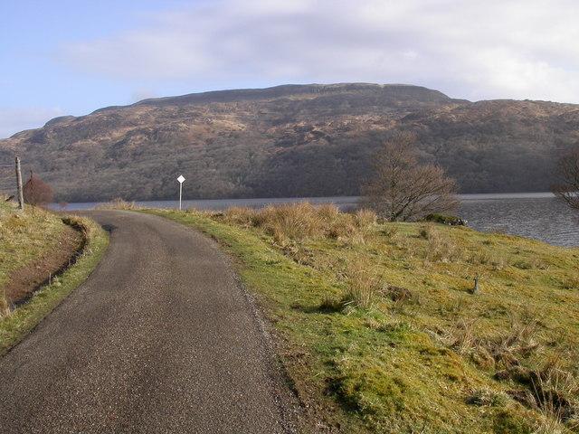 Single track road by Loch Arienas