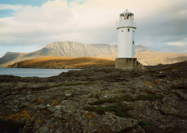 Rubha Cadail lighthouse and Ben More Coigach