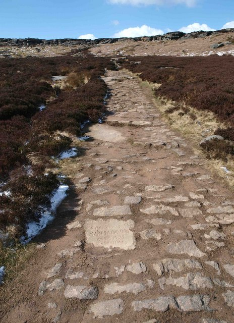 Footpath to Stanage Edge with memorial stone