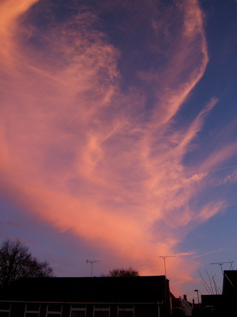 Spectacular evening sky, Claydon, looking SSE