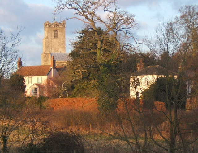 Coddenham from the southwest in late winter afternoon light