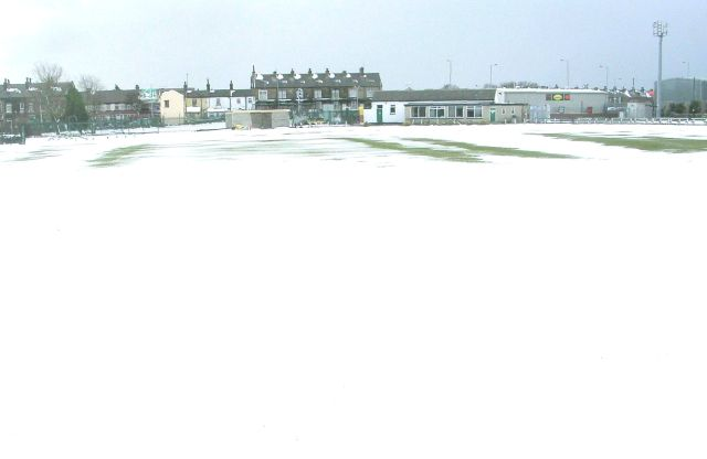 Undercliffe Cricket Pitch covered in snow - Intake Road