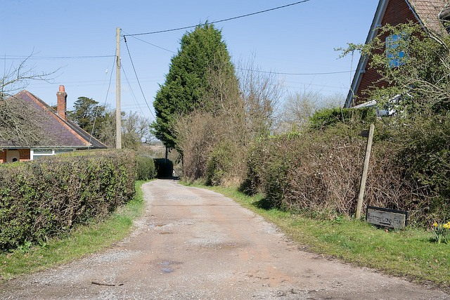 Track and footpath to Bottom Lane Farm, Maury's Lane, West Wellow