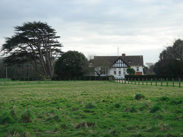 Across the fields to Pavilion Cottage