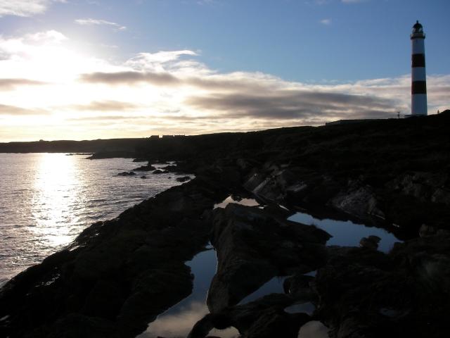 Tarbat Ness Lighthouse in wintery sun