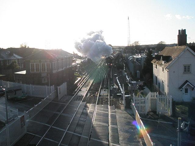 Steam train roaring through Havant