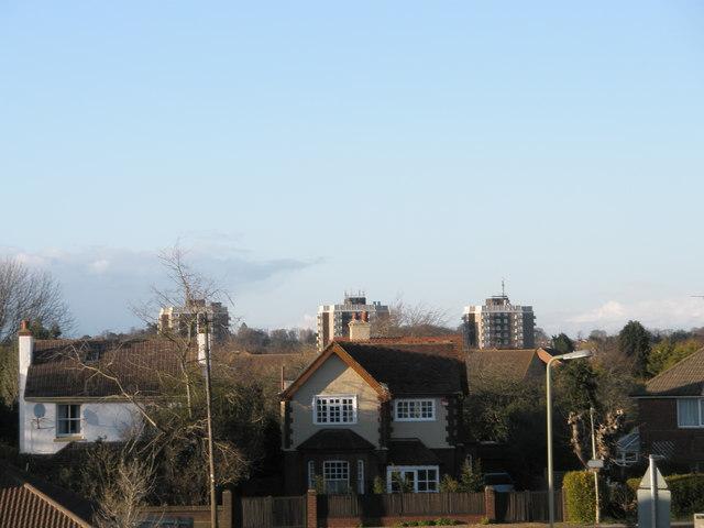 Havant flats as seen from railway bridge east of the station