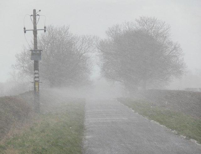 Hail storm along Fleckney Road
