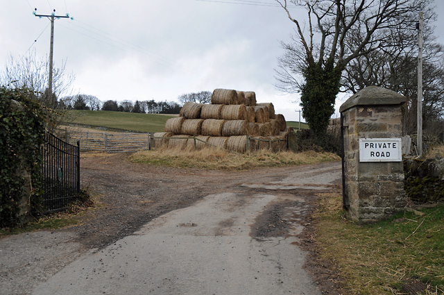 Gates at start of Private Road beyond Couston