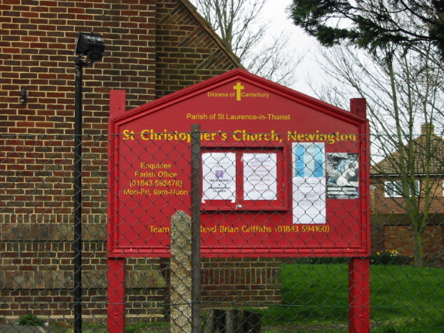 Church noticeboard for St Christopher's