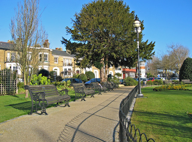 Pathway and benches in Prittlewell Square