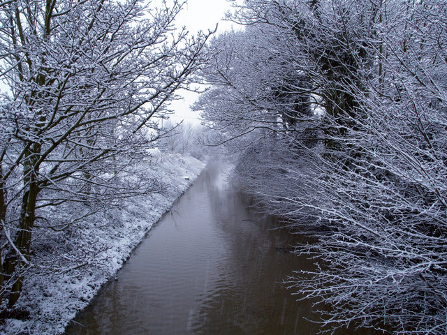 Burstwick Drain in the Snow from Sheriff Highway, Hedon