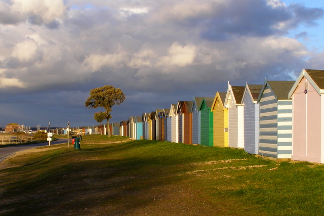 Beach huts on Jack Maynard Road, Calshot Spit