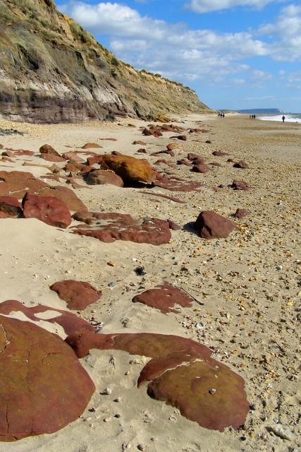 Ironstone boulders on the beach, Hengistbury Head