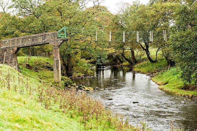 Suspension footbridge across the river Hodder