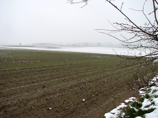 Looking SE across snow-covered fields
