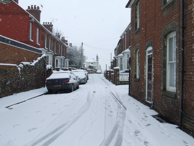 Mill Road in the snow