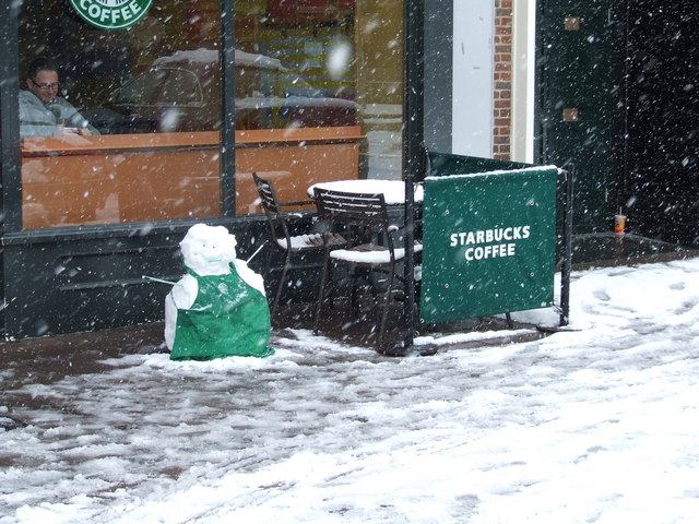 Starbucks staff out in the cold