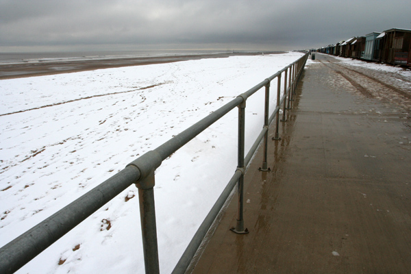 Beach covered in snow