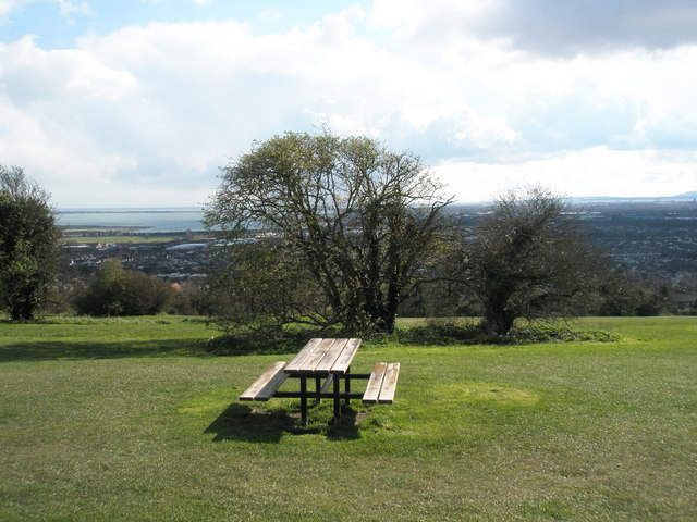 Picnic bench on Portsdown Hill