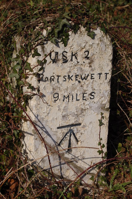 Milestone at Llanllowell