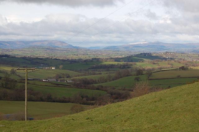 Pastureland near Llansoy viewed from Star Hill