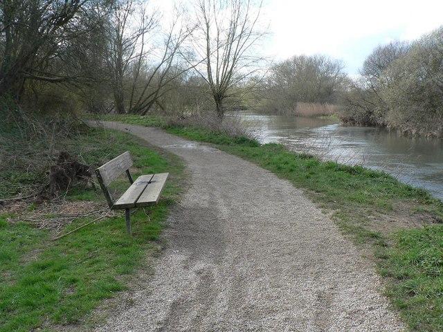 Redhill: riverside bench