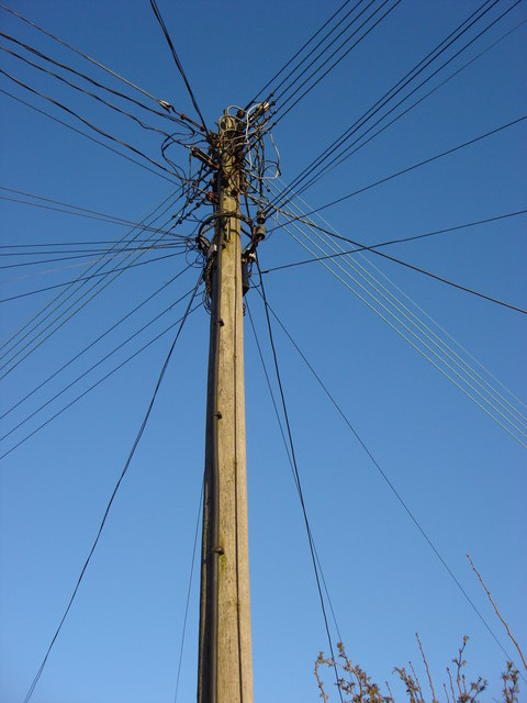 Telegraph pole with many lines