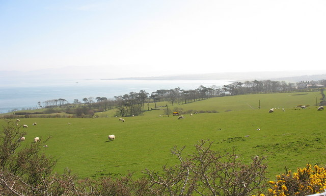 View across the fields towards the sea from Rhos-mynach farmhouse