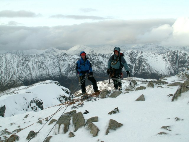 Two climbers reach Stob Coire nan Lochan