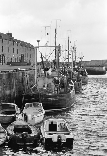 Lossiemouth harbour with the last of the few