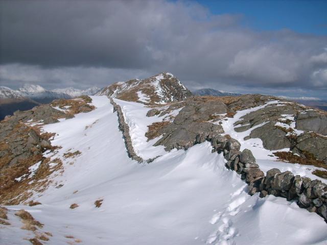 Wall running along top of hill