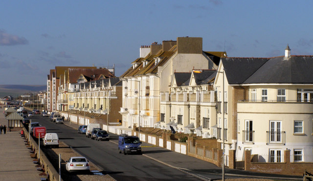 The Esplanade from the roof of the Martello Tower, Seaford