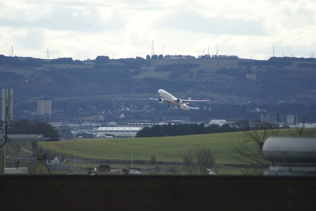 Plane taking off from Glasgow Airport