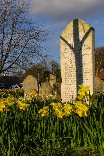 John Buckett's poetic gravestone, Old St Peter's Churchyard